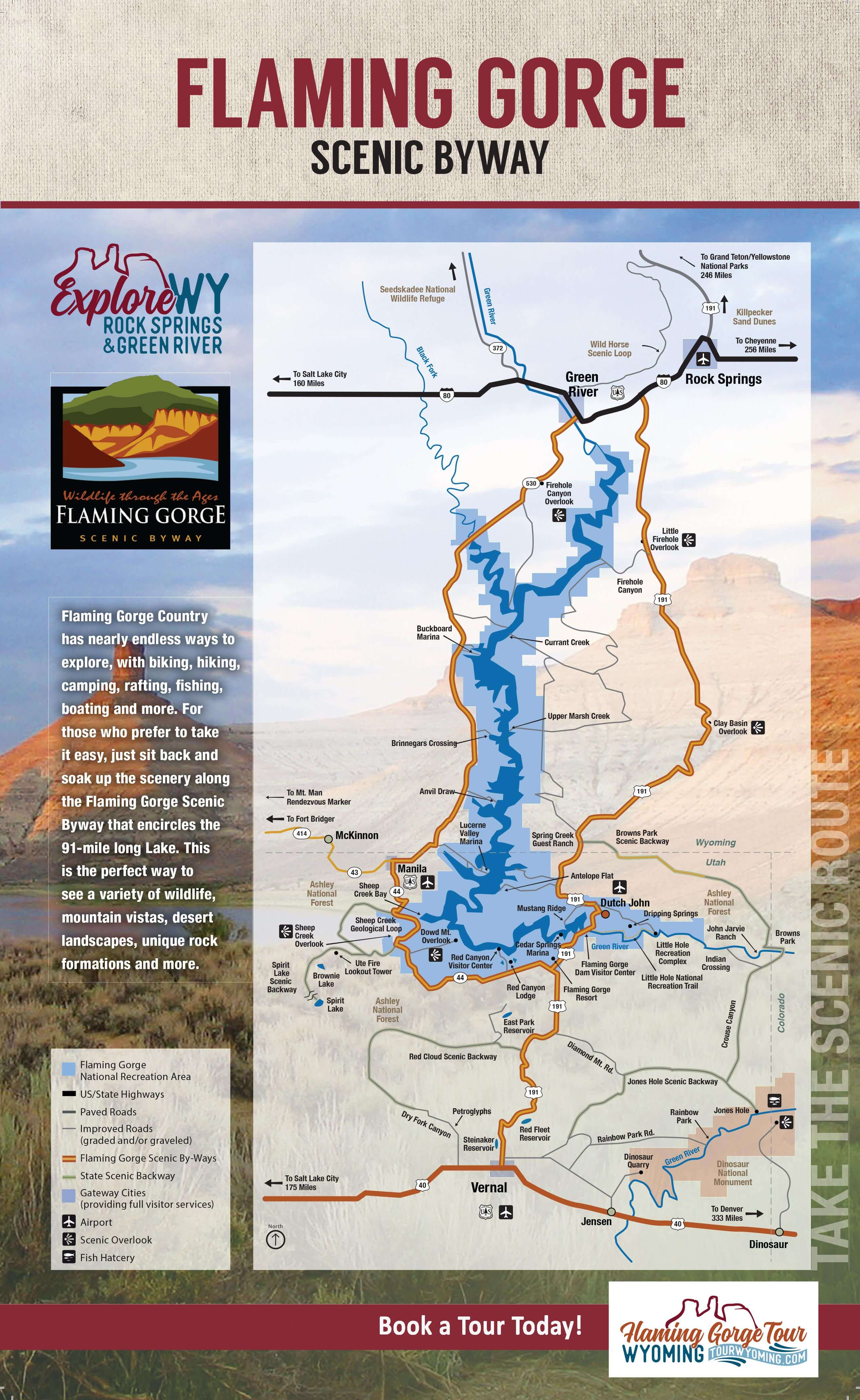 Map of Flaming Gorge Scenic byway