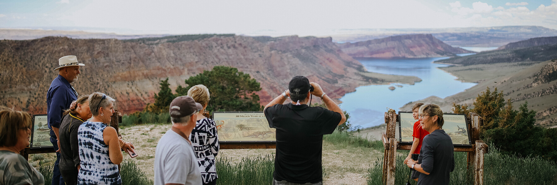 Visitors enjoying the scenic overlooks in Flaming Gorge National Recreation Area